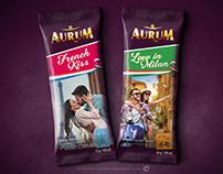 Branding and packaging design. AURUM ice cream