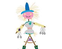 Motley scarecrow.