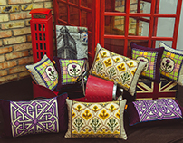 Hand made embroidered cushions Scotland collection