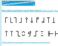 Deutsche Korrekturzeichen (DIN 16511) als Grafiken