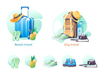 Travel set vector illustration