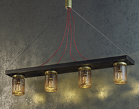 Industrial Lamp with Jars