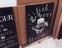 Chalk work for Zeplin Pub & Delicatessen / Alaçatı