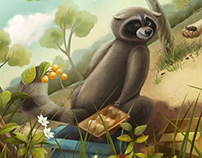 Lion and Racoon illustrations