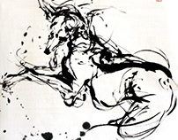 """Dog"" Chinese abstract ink paintings"