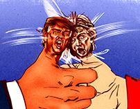 Trump vs Clinton (Thumb War), editorial.