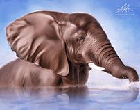 """Bath in Mara River"" Digital Painting by Wayne Flint"