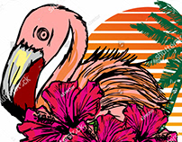 FLAMINGO WITH PALM VECTOR ART