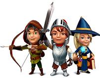 Cartoonish handpainted characters