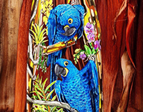 Hyacinth Macaw on Palm Shaft