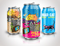 mad cat beer can designs
