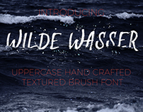 Wilde Wasser Hand drawn textured uppercase brush font.