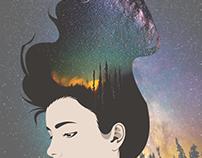 Girl/Night Sky Double Exposure Illustration