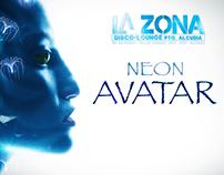 """Cartel temático """"Neon Avatar"""" La Zona"""