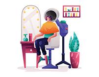 Women Hair Salon Illustration
