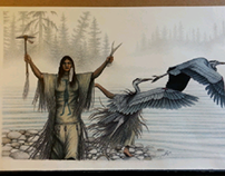 woman/ blue heron transformation