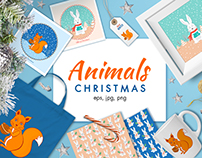 Christmas cartoon animals
