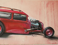 traditional hotrod on canvas with acrylics and airbrush
