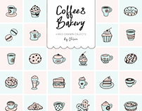 Coffee&Bakery hand drawn objects