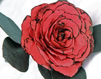 Red&Black Paper Rose- Tango