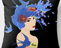 "ART PRINT ""SWALLOW GIRL""  FOR SOCIETY6.COM"