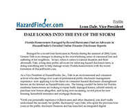 Author executive profile, Lynn Dale, HazardFinder.com.