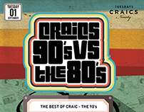 Craics 90s vs The 80's Poster - Box Nightclub