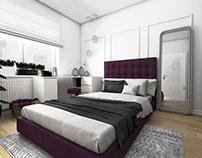 Sypialnia z fioletowym akcentem