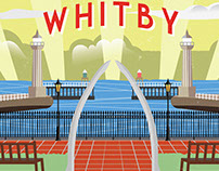 Whitby sea front illustration