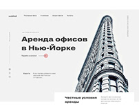 Landing page concept for an office rental company