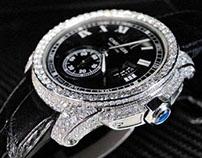Custom Cartier Calibre Men's Diamond Watch