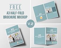 Half-fold brochure mockup FREE PSD