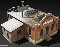 WWII RTS Game Lowpoly Building 3D Models