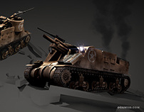 WWII RTS Game Lowpoly Vehicle 3D models
