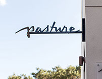 Hand lettered logo for Pasture Restaurant