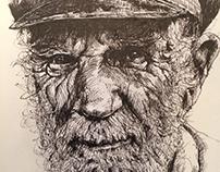 Old Man II. Ink Drawing.