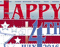 4th of July Calendar 2016
