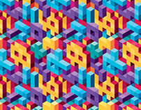 Isometric Vector Background Seamless Pattern