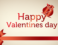 Happy Valentines Day Greeting Card PSD Template