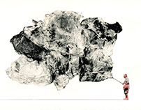 Where's Friedrich?, 2013  monotype and found pictures