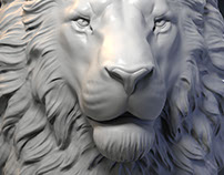 Lion head 3d models. Digital sculpture.