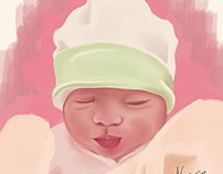 Baby Portrait - iPad Illustration, Procreate