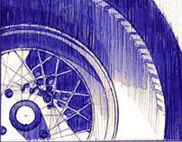 Car pen sketches nr. 1-8