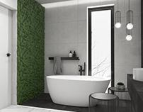 Minimalistyczna łazienka z zieloną ścianą