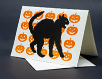 Scaredy Cat Letterpress Greeting Cards