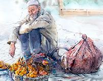 Street Fruit seller - Xin Jiang China 2015