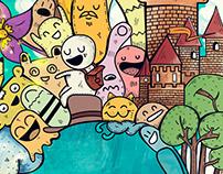 mural doodle acuático
