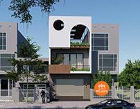 Thiết kế nhà phố 3 tầng hiện đại đẹp 3 tầng 6x26m