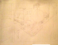 2 point perspective line drawing