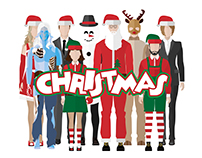 People Icons In Flat style ( Christmas )